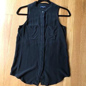 Madewell sleeveless Silk Black Sheer Blouse